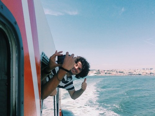 Lisbon - Crossing the River Tejo on Boat