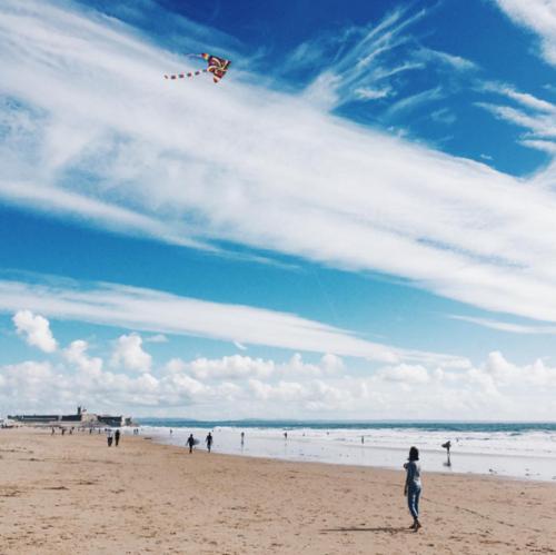 Lisbon - Flying a Kite at Carcavelos