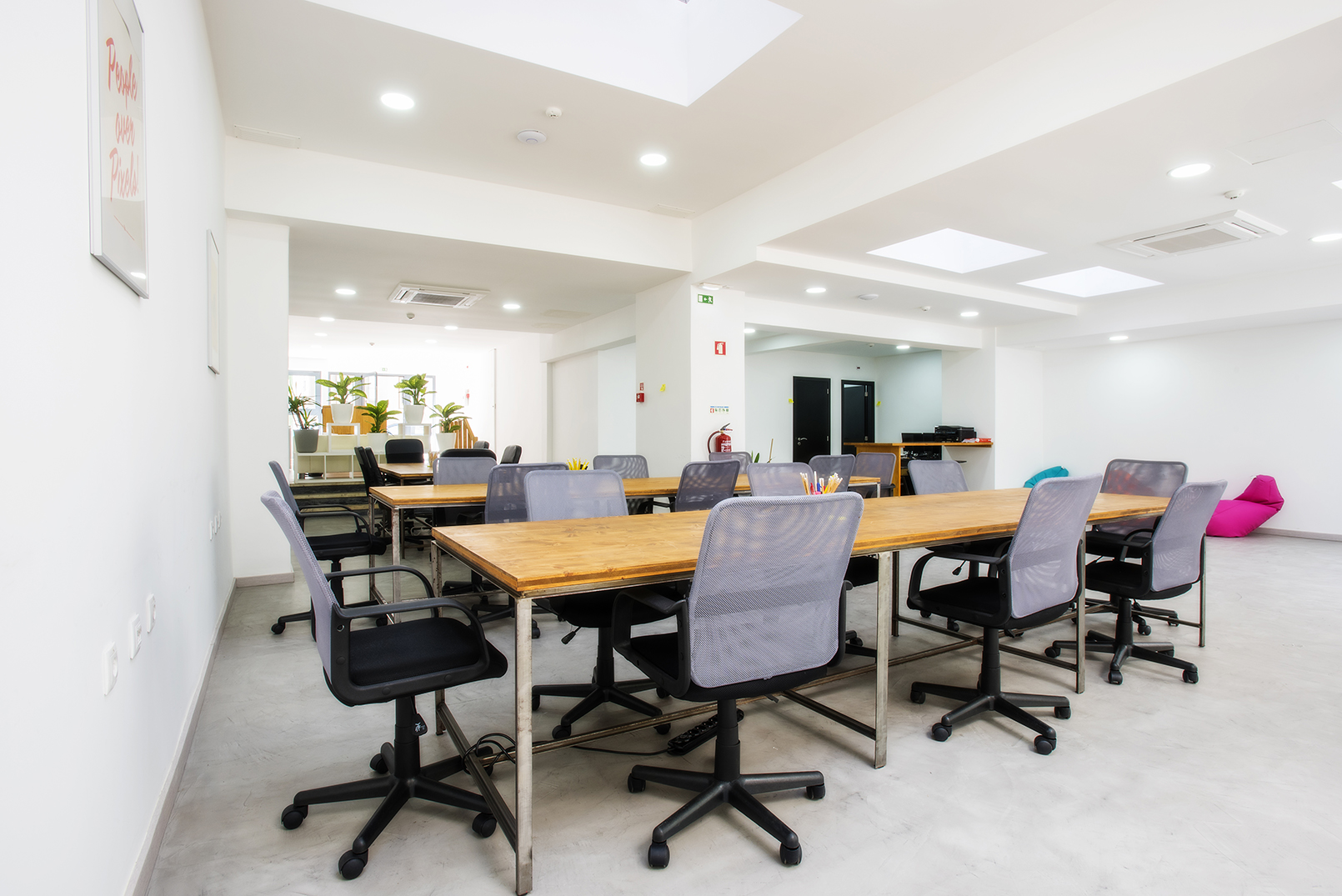 Workspace area in private coworking office in Lisbon