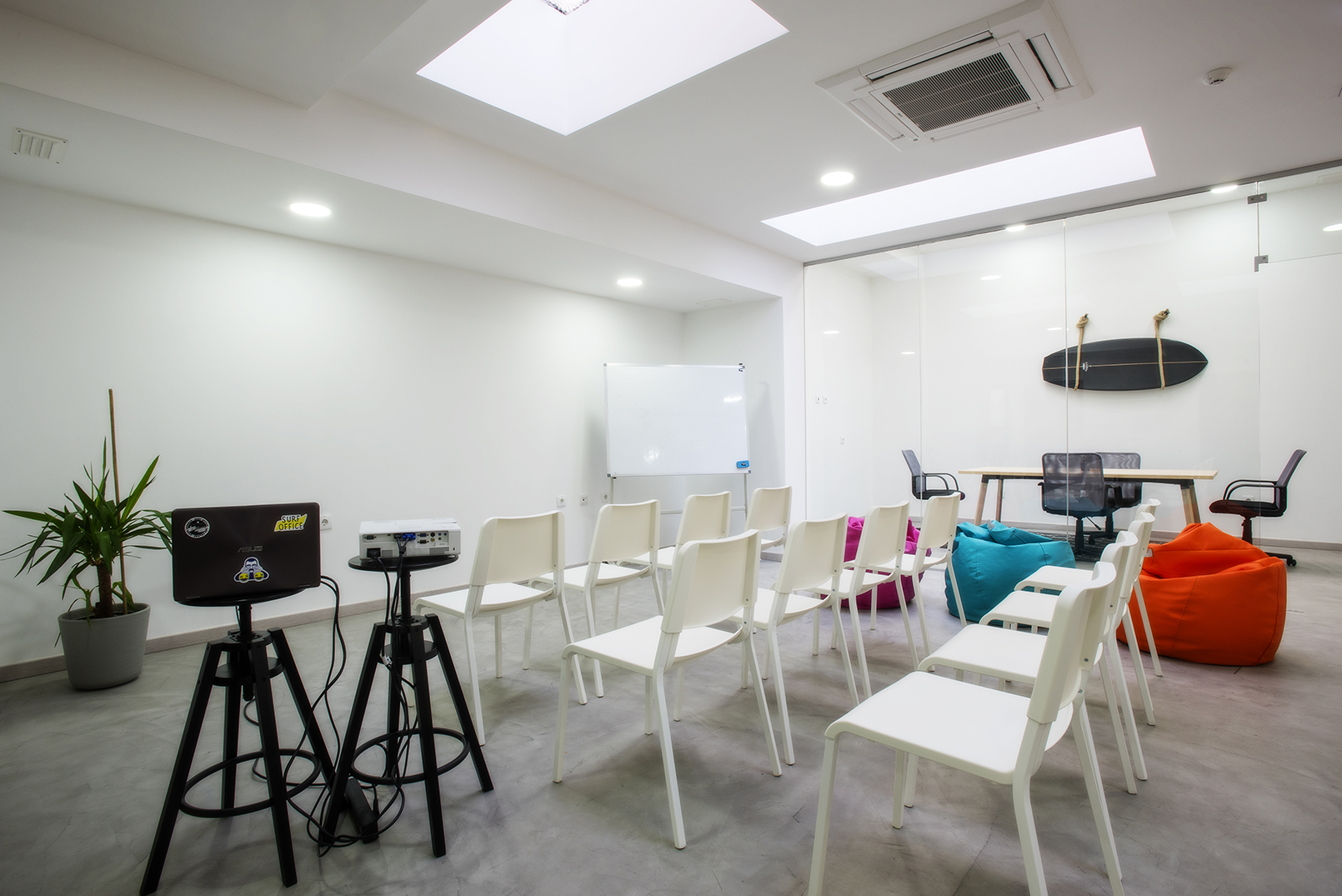 Classroom area in private coworking office in Lisbon